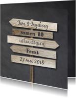 Uitnodigingen - Uitnodiging wegwijzers krijtbord en hout
