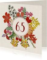 Uitnodigingskaart voor een verjaardag met bloemenkrans