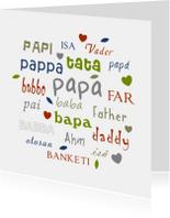 Vaderdagkaart  verschillenden talen papa