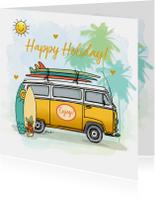 Vakantiekaart Volkswagenbusje surfplanken
