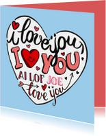 Valentijnskaarten - Valentijn love you handlettering