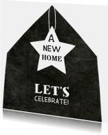 Verhuiskaart eenvoudig huis ster
