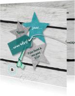 Verhuiskaarten - Kerst-verhuiskaart eigen txt sterren