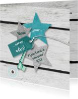 Kerst-verhuiskaart eigen txt sterren