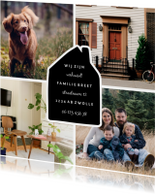 Verhuiskaart fotocollage 4 foto's met huisje