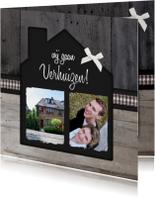 Verhuiskaart Huisje Hout Foto's
