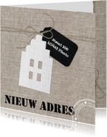 Verhuiskaarten - Verhuiskaart Linnen Huisje Label Stempel