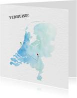 Verhuiskaart met kaart van Nederland