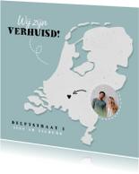 Verhuiskaart plattegrond van Nederland met foto