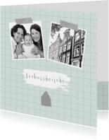 Verhuiskaart ruitpatroon foto's mint