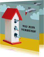 Verhuiskaart vogelhuisje