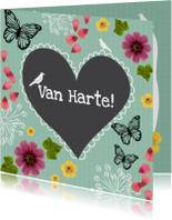 Verjaardagskaarten - Verjaardag bloemen hart - SV