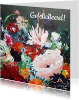 Verjaardagskaarten - Verjaardag bloemen schilderij