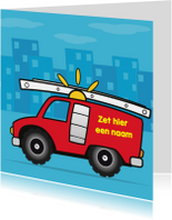 Kinderkaarten - verjaardag brandweer auto jongen 66