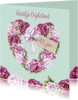 Verjaardagskaarten - Verjaardag hart pioenrozen