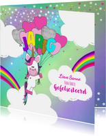 Verjaardag hippe vrolijke felicitatie unicorn met  ballonnen