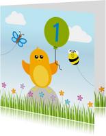 Verjaardag jongen oranje vogeltje met ballon - DD