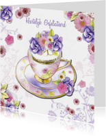 Verjaardagskaarten - verjaardag kopje bloemen