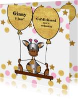 Verjaardagskaarten - Verjaardag lief giraffe ballon