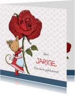 Verjaardagskaarten - Verjaardag muis met roos - IH