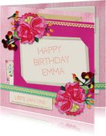 Verjaardagskaarten - Verjaardag Roze vintage