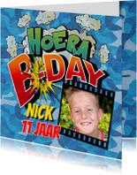 Verjaardag Strip cartoon uitnodiging camouflage
