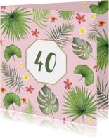 Verjaardag tropisch blad