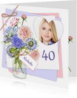 Verjaardagskaarten - Verjaardag vaas bloemen