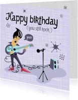 Verjaardags kaart met rockende gitarist