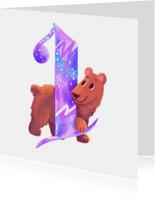 Verjaardagskaart 1 jaar beer