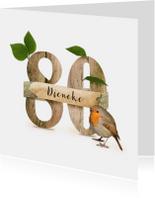 Verjaardagskaarten - Verjaardagskaart 80 jaar roodborstje