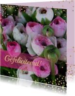Verjaardagskaart bloem confetti