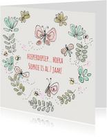Verjaardagskaarten - Verjaardagskaart Bloem Vlinder
