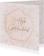Verjaardagskaart bloemen roze goudlook