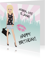 Verjaardagskaart citygirl