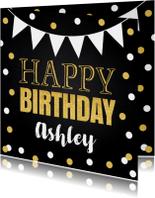 Verjaardagskaart confetti goud slinger krijtbord