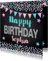 Verjaardagskaart confetti slinger sterren krijtbord