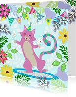 Verjaardagskaart dansende kat met confetti