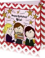 Verjaardagskaarten - Verjaardagskaart feestelijke kaart 3 vriendinnen en taart
