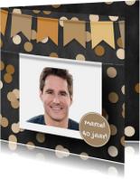 Verjaardagskaart foto confetti en krijtbord