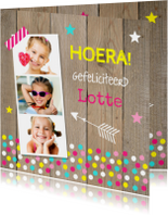 Verjaardagskaart fotocollage meisje confetti