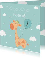 Verjaardagskaart Giraffe - Jongen