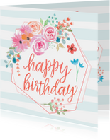 Verjaardagskaarten - Verjaardagskaart happy bohemian birthday