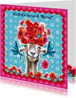 Verjaardagskaarten - verjaardagskaart hippe geit blauw