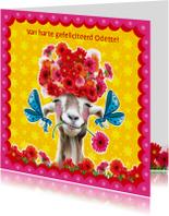 Verjaardagskaarten - verjaardagskaart hippe geit
