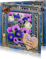 Verjaardagskaart  houten frame met bloemen en wens