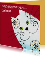 Verjaardagskaart kat oepsiepoepsie