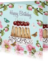 Verjaardagskaarten - Verjaardagskaart Kersentaart