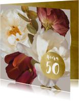 Verjaardagskaart klassiek boeket beige leeftijd aanpasbaar