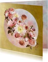 Verjaardagskaarten - Verjaardagskaart klassiek boeket roze met goud